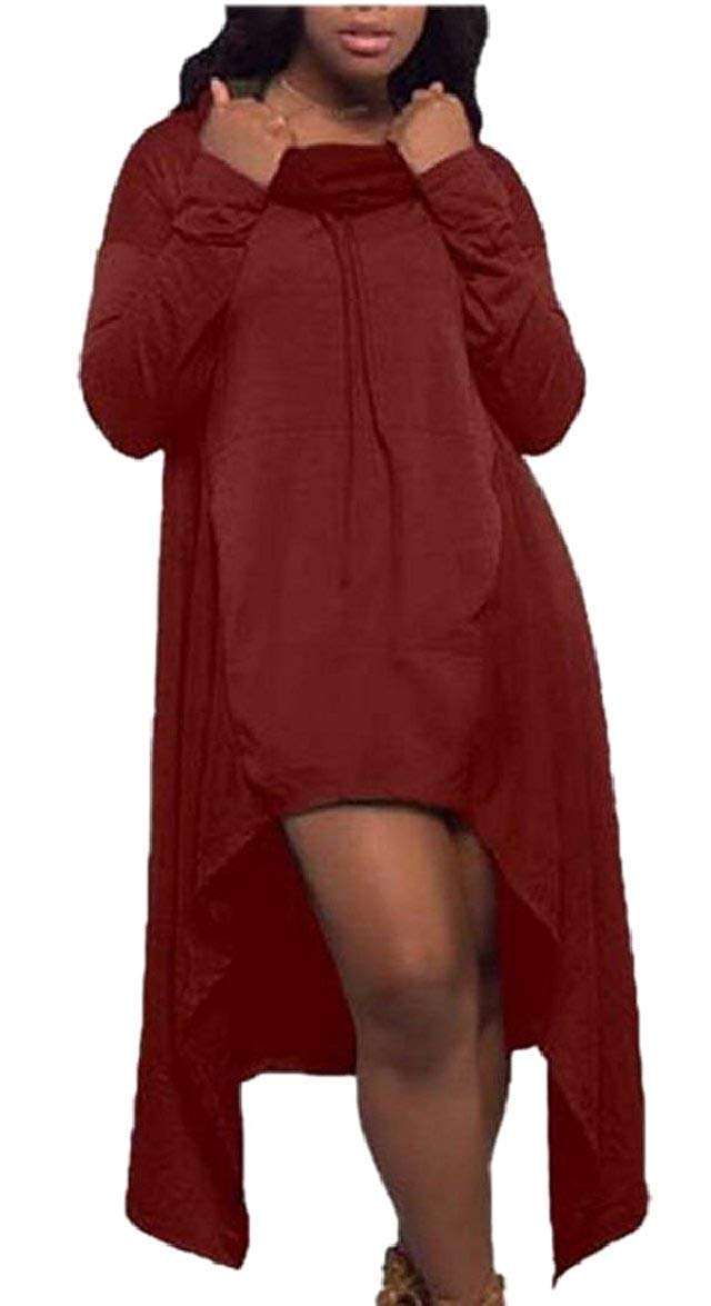 2 Hadudu Womens Casual Hooded Long Sleeve Irregular Hem Sweatshirt Dress