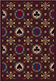 Joy Carpets 59D-03 Stacked Deck Burgundy 7 ft.8 in. x 10 ft.9 in. 100 Pct. STAINMASTER Nylon Machine Tufted- Cut Pile Gaming and Entertainment Rug