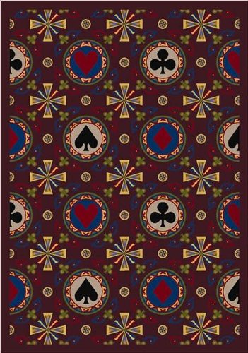 Joy Carpets 59C-03 Stacked Deck Burgundy 5 ft.4 in. x 7 ft.8 in. 100 Pct. STAINMASTER Nylon Machine Tufted- Cut Pile Gaming and Entertainment Rug by Joy Carpets
