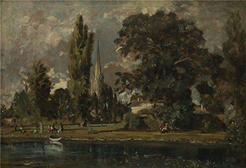 Oil Painting John Constable Salisbury Cathedral And Leadenhall From The River Avon 20 X 29 Inch   51 X 74 Cm   On High Definition Hd Canvas Prints  Gifts For Hallway  Powder Room And Study R Decor