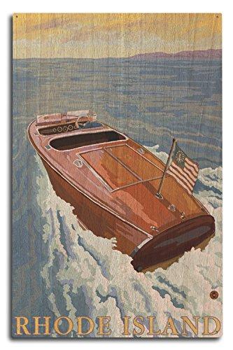 (Lantern Press Rhode Island - Chris Craft Boat (10x15 Wood Wall Sign, Wall Decor Ready to Hang))
