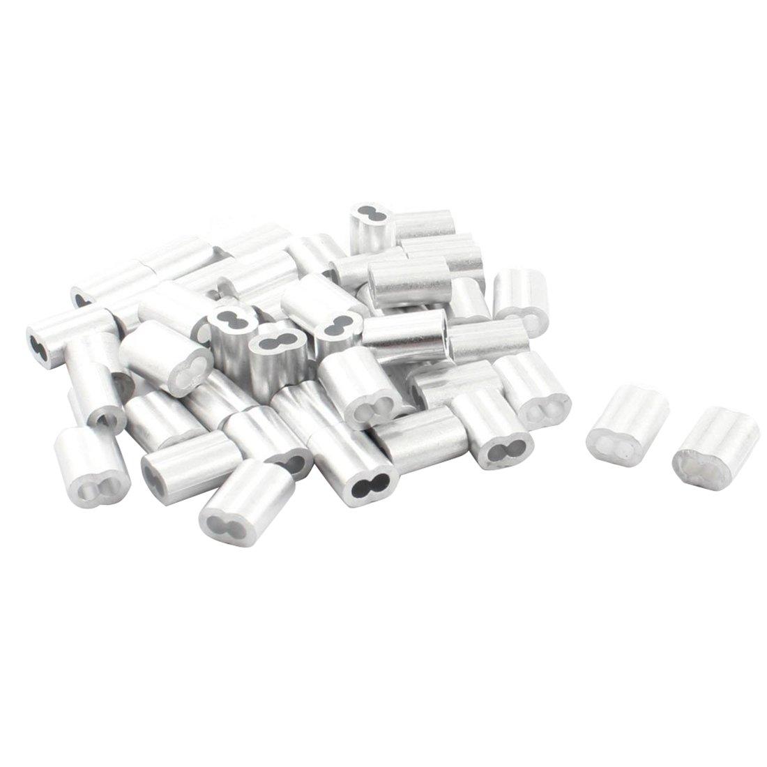 R 50Pcs 15mm Aluminum Hourglass Ferrules Sleeve Crimp for 3mm Wire Rope TOOGOO