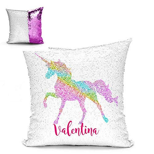 BlueVstudio | Free Pillow Insert | Personalized Rainbow Unicorn Reversible Sequin Pillow Case | Magic Pillow | Mermaid Pillow | Sequin Pillow (Pink) [並行輸入品] B07RDWN6Q4
