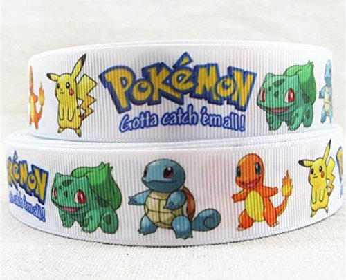 1 METRE POKEMON WHITE gotta catch em all CARTOON RIBBON 1