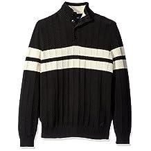Nautica Men's Buttoned Mock- Neck Pullover Sweater with Chevron Stripe