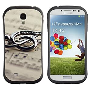 TopCaseStore Hybrid Rubber Case Hard Cover Protection Skin for SAMSUNG GALAXY S4 - Music Metal Note