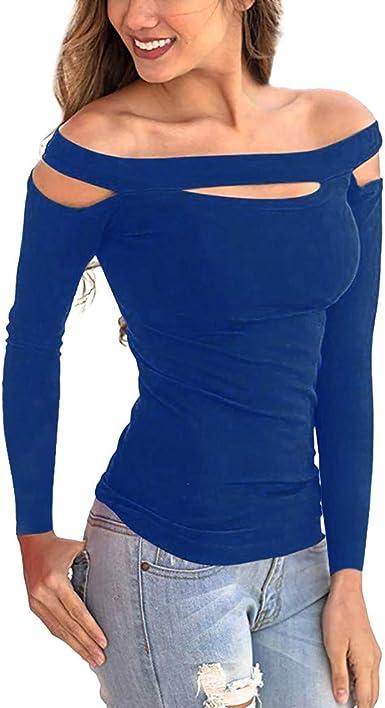 HOUMENGO Mujer Casual Fuera de la Camisa del Hombro, Manga Larga Blusas Casuales Top Camiseta Vestido túnica Swing Estilo: Amazon.es: Ropa y accesorios