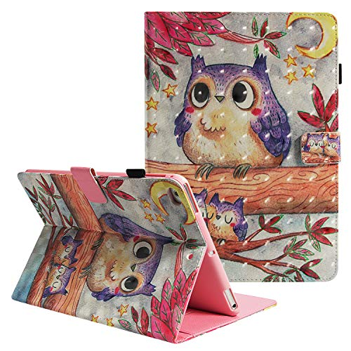 (Case for iPad 6th/5th Generation, iPad Air 2 Case, Leather Smart Folio w/Cute Flower Design Pencil Holder Hard Shockproof Back Cover for Apple iPad 9.7 inch Tablet A1893/A1954/A1822/A1823 (Owl))