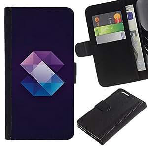 LASTONE PHONE CASE / Lujo Billetera de Cuero Caso del tirón Titular de la tarjeta Flip Carcasa Funda para Apple Iphone 6 PLUS 5.5 / Crystal Gemstone Polygon Black