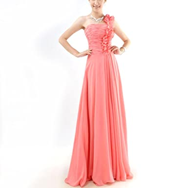 Womens One Shoulder Bridesmaid Dresses Ruched Floral Long Evening Dress Ball Gown Dress Prom Dresses