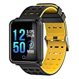 Kanzd Fitness Tracker Blood Pressure Heart Rate Monitor Activity Tracker SmartWatch (Yellow)