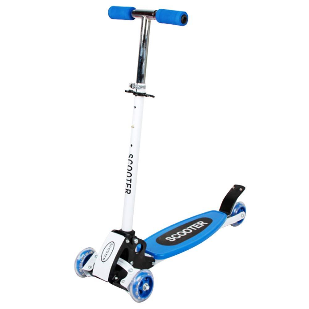 再再販! キックスクーター三輪車スケートボードペダル式乗用スタントスクーター最初のスクーター折りたたみTバーハンドルLEDライトアップホイール付き調節可能な B07H857X57 B07H857X57 青 青, nanouniverse:7251442f --- a0267596.xsph.ru