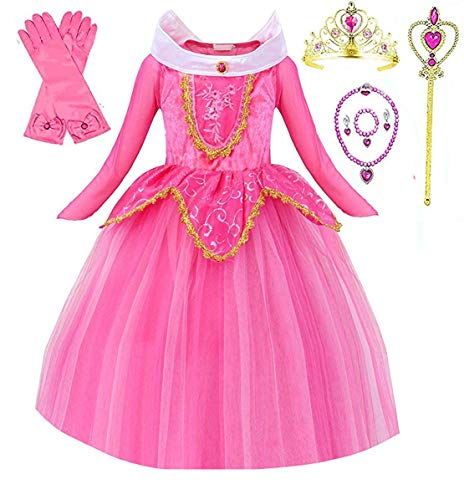 (Princess Sleeping Beauty Aurora Party Costume Dress (6-7, Pink))