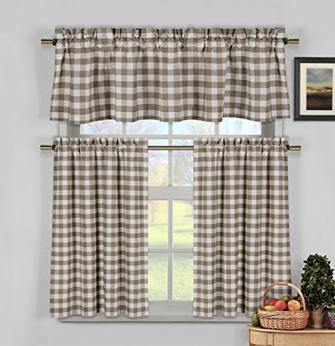 3 Piece Plaid, Checkered, Gingham Kitchen Curtain Set: 35% Cotton, 1 Valance, 2 Tier Panels, Rod Pocket (Brown)