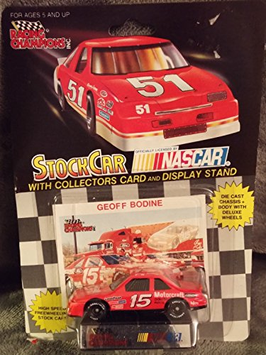 Brand New Collectible From 1992 Racing Champions 1/64 Die Cast #15 Geoff Bodine Motorcraft - Stock Car w/ Collectors Card & Display Stand Officially Licensed By Nascar