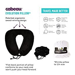 Cabeau Evolution Memory Foam Travel Neck Pillow - The Best Travel Pillow with 360 Head, Neck and Chin Support, Black