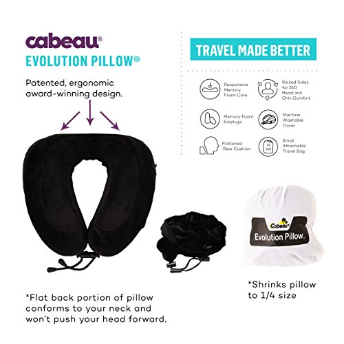 "NEW CABEAU Memory Foam ""Evolution Pillow"" - The Travel Pillow That Works! Includes Small Bag, Raised Side Supports, Flat Rear Neck Cushion, Washable Cover, Media Pouch, and More - BLUE"