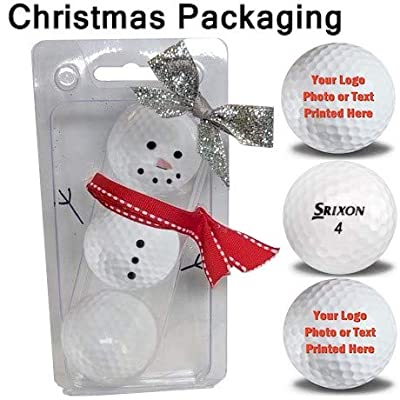 3 Personalized Z Star Golf Balls with Christmas Ribbon Packaging