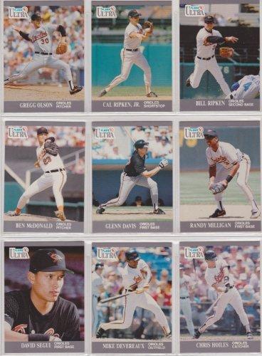 baltimore-orioles-1991-fleer-ultra-baseball-team-set-cal-ripken-jr-billy-ripken-dave-johnson-ben-mcd