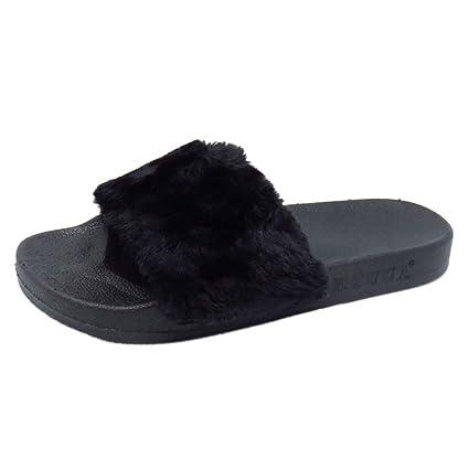 ba0152cf16d54 Amazon.com: ASO-SLING Women's Slides Slippers,Faux Fur Slide Slip On ...