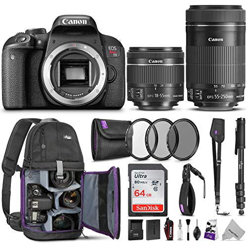 Canon EOS Rebel T7i DSLR Camera with 18-55mm is STM & 55-250mm Lenses Kit w/Advanced Photo & Travel Bundle - Includes Canon USA Warranty, Altura Photo Backpack, SanDisk 64gb SD Card, Monopod