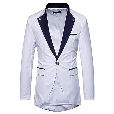Adelina Giacca da Smoking da Uomo in Contrasto di Colore Abbigliamento da  Uomo Giacca Elegante da Uomo Elegante Giacca da Completo Slim Fit Giacchino  ... 54969cafa44