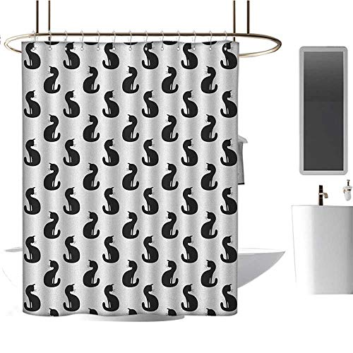 MKOK Fabric Shower curtain54 x72 Cat,Silhouette of a Kitten Monochrome Feline Pattern House Pet Illustration Halloween Black White,Non-Toxic,No Chemical Odor,Eco-Friendly,for Bathroom Curtain ()