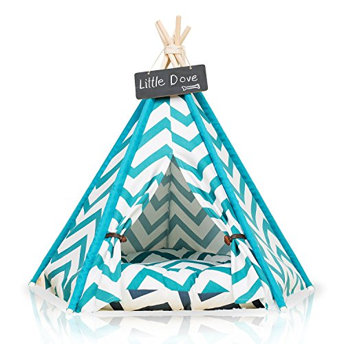 little dove Pet Teepee Dog(Puppy) & Cat Bed – Portable Pet Tents & Houses for Dog(Puppy) & Cat Blue Strip Style 28 Inch with Cushion