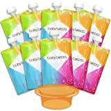 reusable baby food pouch 7 oz - Baby Brezza Reusable Baby Food Storage Pouch - Make Organic Food Puree for Your Toddler and Store in Refillable Squeeze Pouches - Bulk Set of 10 Zipper Pouches