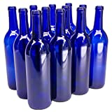 North Mountain Supply 750ml Glass Bordeaux Wine Bottle Flat-Bottomed Cork Finish - Case of 12 - Cobalt Blue