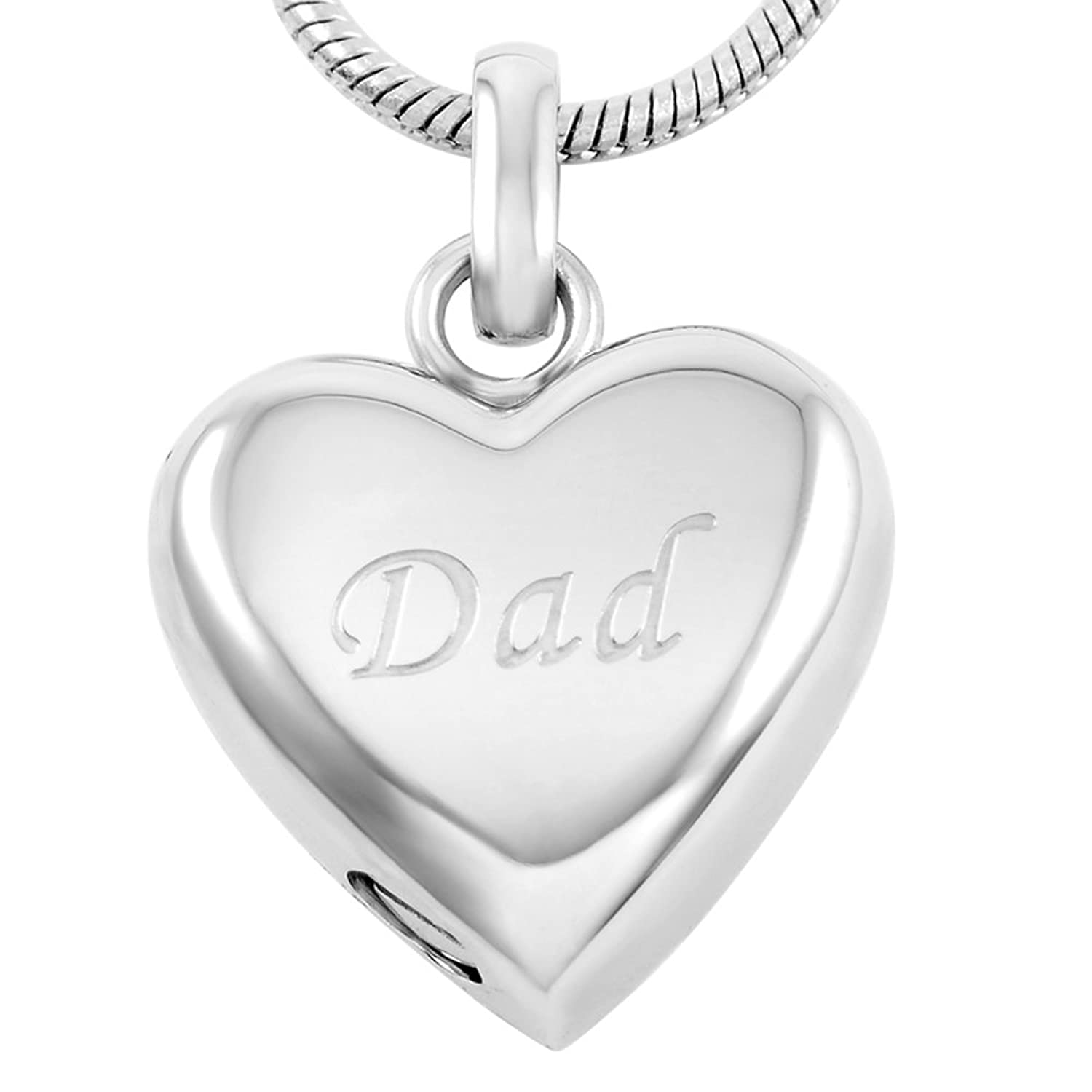 Heart Urn Pendants Memorial Ash Necklace Stainless Steel Cremation Jewelry