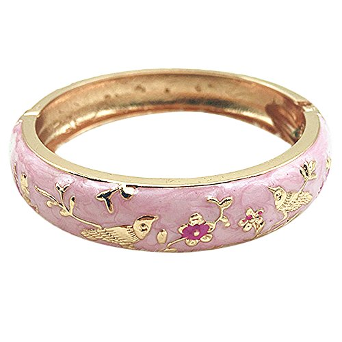 UJOY Colors Cloisonne Bracelet Handcraft Jewelry Enamel Bird Spring Hinge Women Girls Bangle Birthday Gifts Box 55C49 Pink