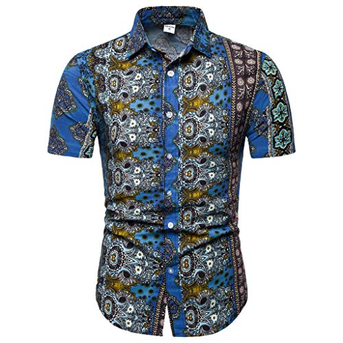 Sunhusing Men's New Boho Style Pattern Print Casual Lapel Short Sleeve Shirt Button-Down Work T-Shirt Blue