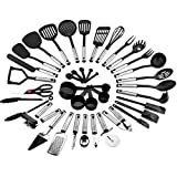 Best Choice Products 39-Piece Home Kitchen All-Purpose Stainless Steel and Nylon Cooking Baking Tool Gadget Utensil Set for Scratch-Free Dishes - Black/Silver