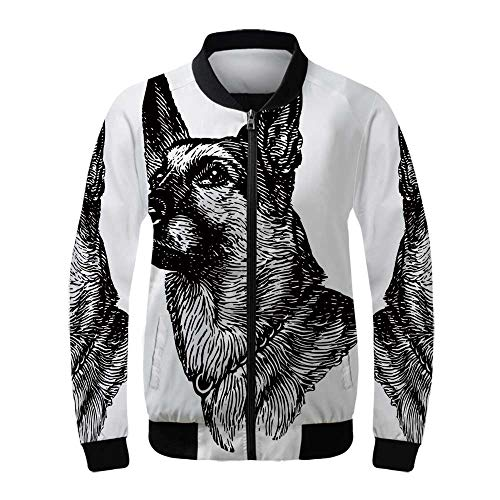 Guardian Tweed - Animal Women's Lightweight Jacket,Pencil Sketchy Image of Dogs Human Best Friend Guardian Police Animal Artwork for Sports,XS