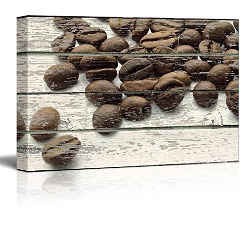 Spilled Coffee Beans on a Rustic Wooden Background