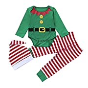 2017 Christmas Baby Boys Girls Cute Elf Costume Long Sleeve Romper Pants Hat Outfits Winter Clothes (Green, 0-6M)