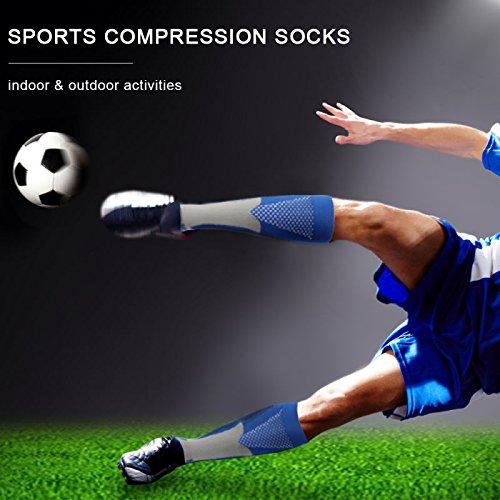 3 Pairs Compression Socks Men Women Athletic Socks for Run, Basketball, Soccer, Travel, 20-30 mmHg