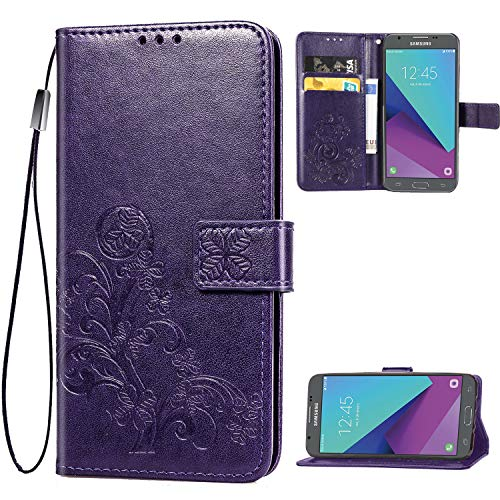 Galaxy J7 2018,J7 Star,J7 Refine,J7 Aero,J7 Aura,J7 Top Case,[Flower Embossed] Leather Wallet Flip Folio Protective Case Cover with Card Holder and Stand for Samsung Galaxy J7 2018 SM-J737 (Purple)
