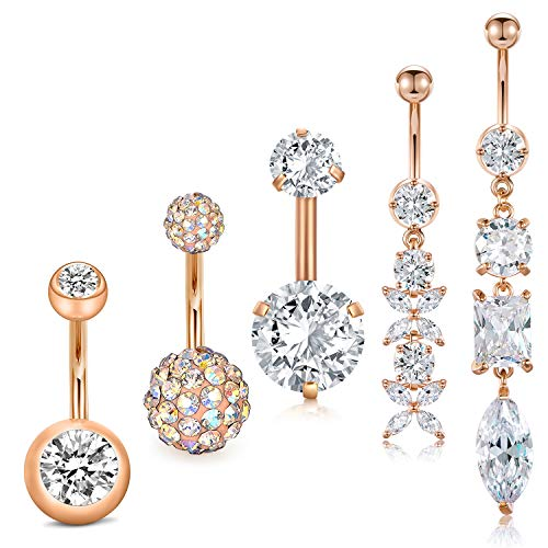 JFORYOU 5PCS 14G 316L Stainless Steel Dangle Belly Button Rings for Women Navel Rings Curved Barbell Body Piercing Clear CZ Dangle Rose Gold Belly Rings