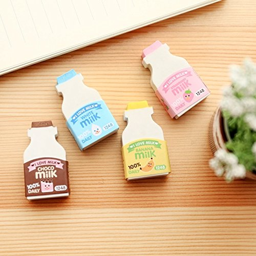 Katoot@ 4 pcs/lot Cute Milk bottle shaped erasers 3d food rubber earser for kids clean tool Kawaii stationery office school supplies