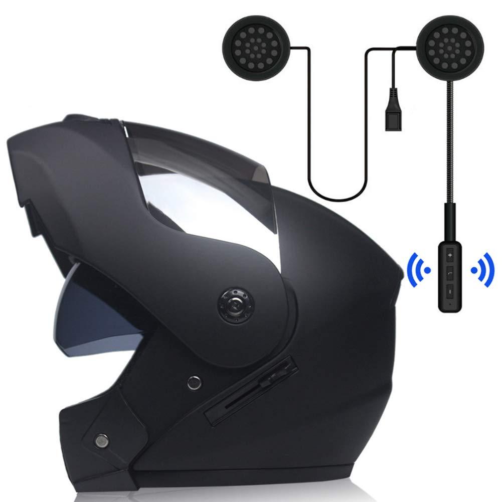 modulable /à double visi/ère pour homme//femme noir mat avec casque MOPHOTO Casque de moto int/égral avec casque Bluetooth