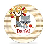 Raccoon Plate - Autumn Fall Animal Melamine Personalized Plate