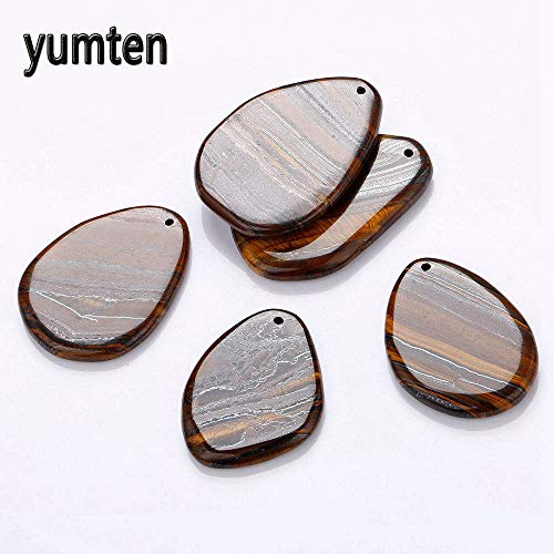 (Big Pendant | Rectangular Natural Stone | Long Necklace | Tiger's Eye | Women Men Jewelry | Healing Luck Gemstone)