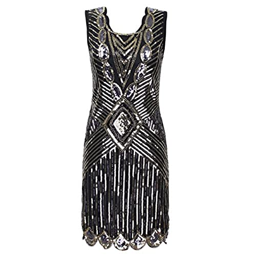 KAYAMIYA Womens 1920S Sequined Beaded Back Deep V Gatsby Formal Dress L Gold