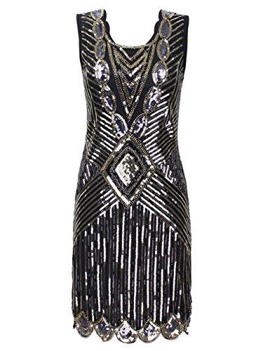 kayamiya Mujer 1920s Lentejuelas Cuentas Back Deep V Gatsby trampa vestido de noche Glam Dorado