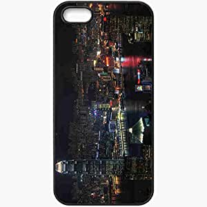 Protective Case Back Cover For iPhone 5 5S Case Night Civilization Light Lights Black