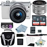 Canon EOS M100 Mirrorless Digital Camera (Black) With 15–45mm f/3.5–6.3 IS STM Lens + Canon M100 Advanced Accessory Bundle - M100 Mirrorless Camera Includes EVERYTHING You Need To Get Started