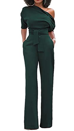 0284aa568f5 Women s Sexy One Off Shoulder Jumpsuits Wide Leg Long Romper Pants with  Belt Army Green S