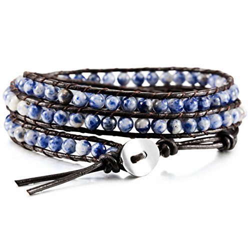 MOWOM Blue Alloy Genuine Leather Bracelet Bangle Cuff Rope Bead 3 Wrap Adjustable - Alloy Wrap